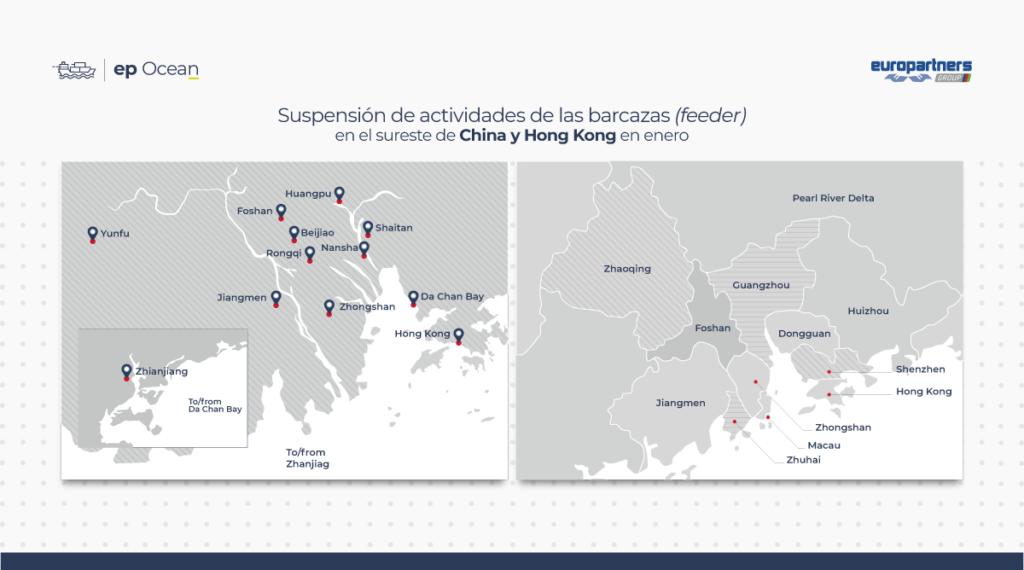Mapa de la suspensión de actividades de las barcazas en el sureste de China y Hong Kong