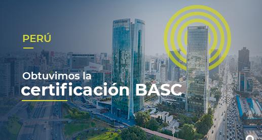 """Sobre una foto de Lima, está escrito Obtuvimos la certificación BASC Perú"""""""
